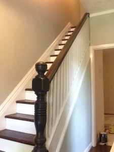 stairwell painting, railings, handrail, spindles